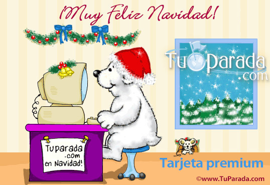 Tarjeta - Muy Feliz Navidad con osito blanco