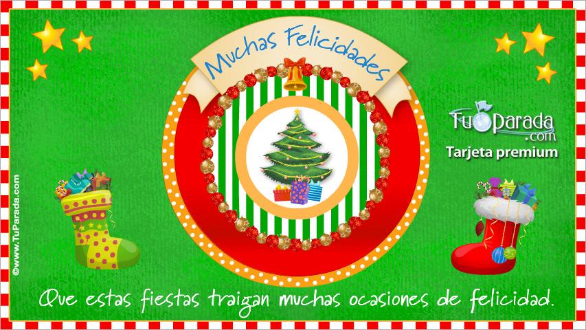 Tarjeta - Postal de Navidad con pino