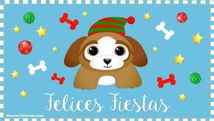 Tarjeta de Navidad con perrito
