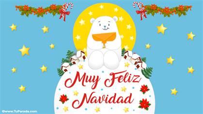 Muy feliz Navidad con oso polar