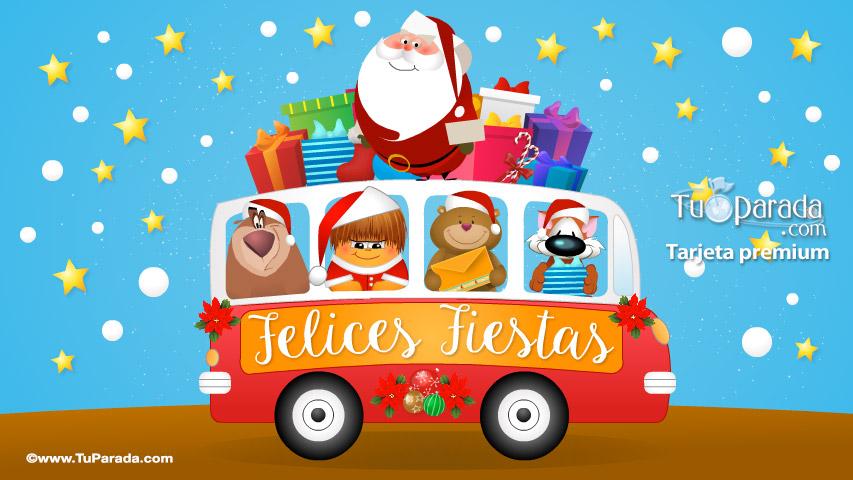 Tarjeta - Saludo navideño con Papá Noel
