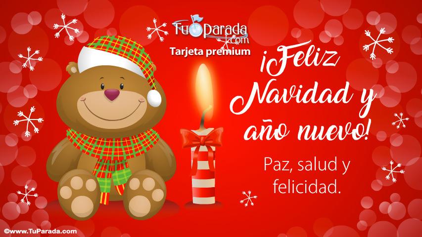 Tarjeta - Feliz Navidad con oso y vela