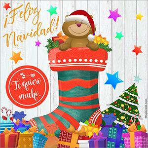 Tarjeta de saludos con bota navideña