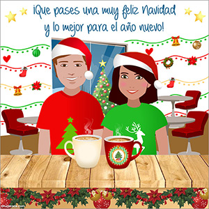 Feliz Navidad con un rico café