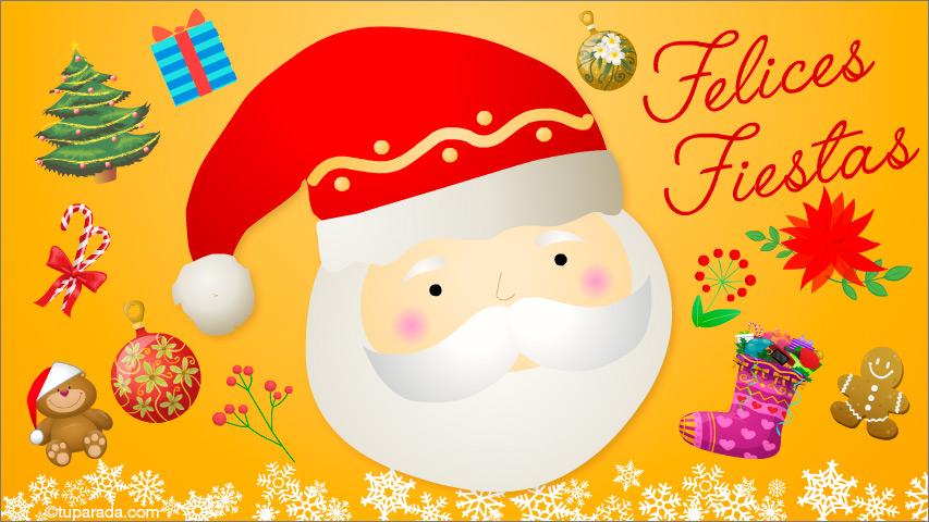 Tarjeta - Feliz Navidad con Papá Noel y adornos