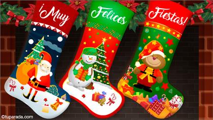 Tarjeta de Navidad con medias de Papá Noel