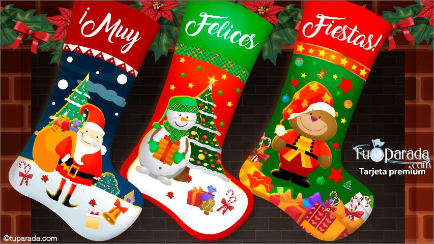 Tarjeta - Tarjeta de Navidad con medias de Papá Noel