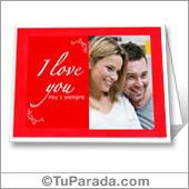 Tarjeta con foto I love you para imprimir