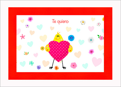Tarjeta de amor con pájaro para imprimir