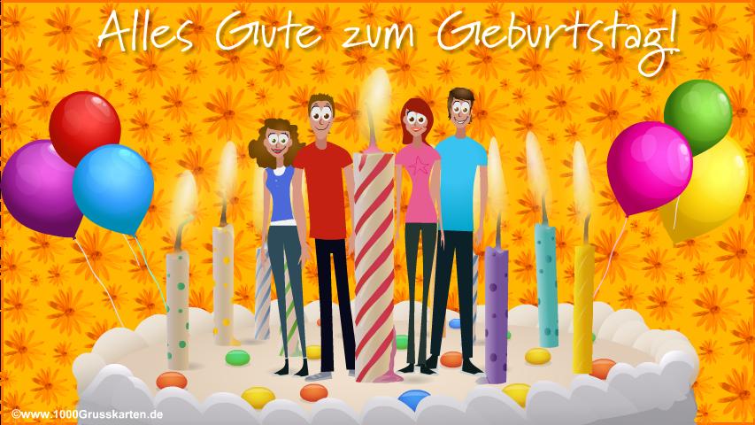 E-Card - Geburtstagstorte mit Grüße