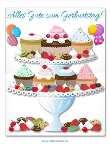 Große Geburtstagskarte mit Cupcakes