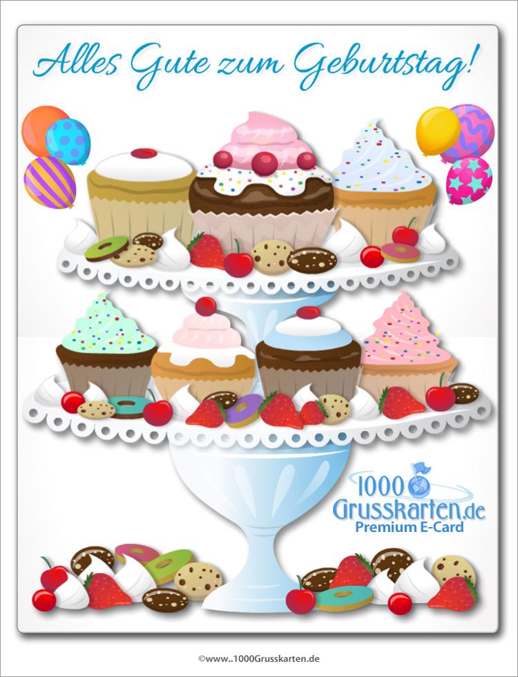 E-Card - Große Geburtstagskarte mit Cupcakes
