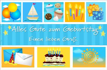 Blau Geburtstag E-Karte