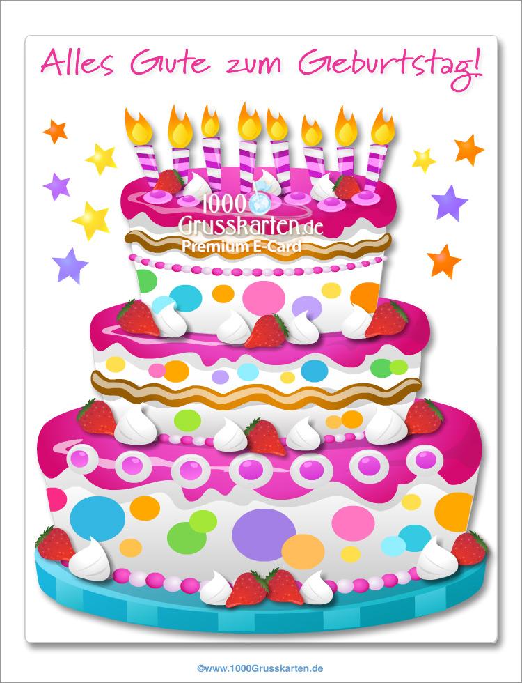E-Card - Große rosa Kuchen E-Card
