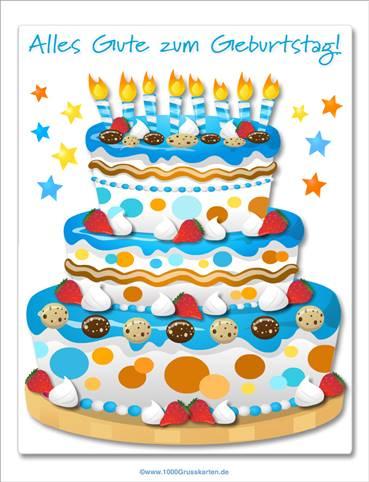 Große blaue Kuchen E-Card