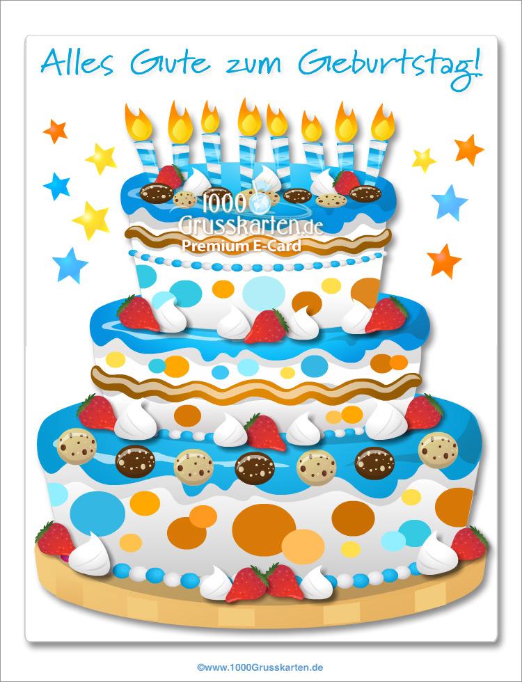 E-Card - Große blaue Kuchen E-Card