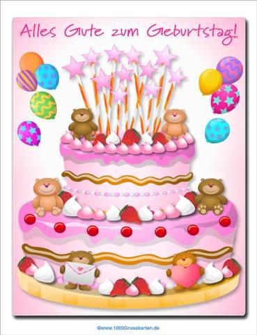 Kuchen mit kleinen Bären für Mädchen