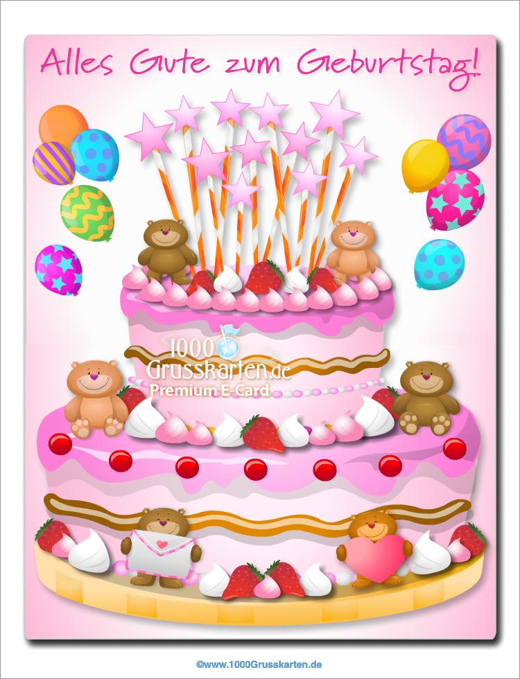 E-Card - Kuchen mit kleinen Bären für Mädchen