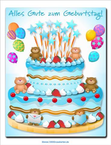 Kuchen mit kleinen Bären für Jungen