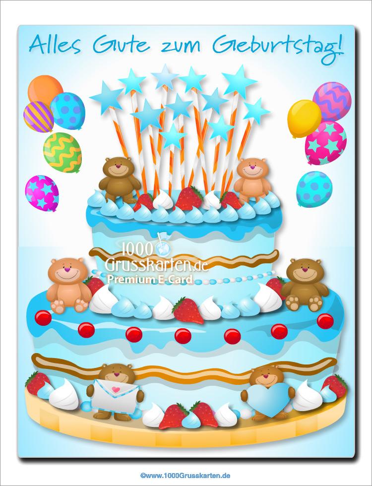 E-Card - Kuchen mit kleinen Bären für Jungen