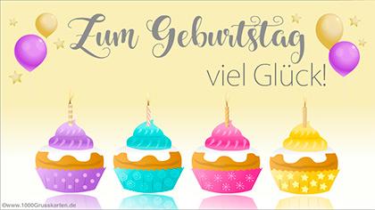 Geburtstag E-Card mit kleinen Kuchen