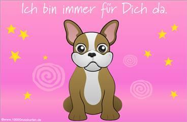 Hund mit virtuellen Gruß in rosa