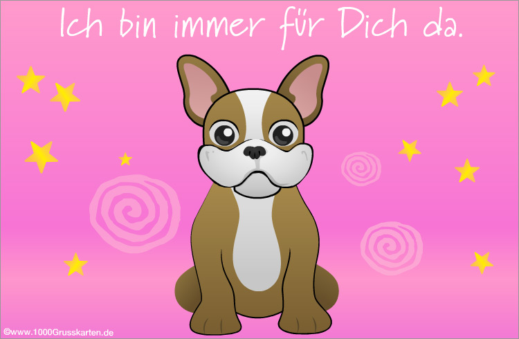 E-Card - Hund mit virtuellen Gruß in rosa