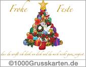 Weihnachtskarte mit Pinien und Dove