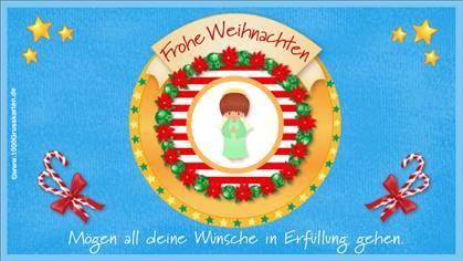 Frohe Weihnachten E-Card mit Engel