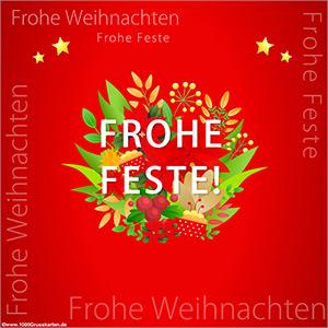 Weihnachtskarte mit Blumen in rot