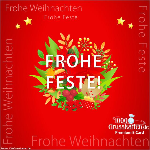 E-Card - Weihnachtskarte mit Blumen in rot