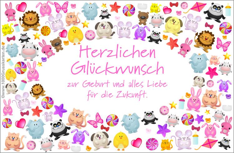 Atemberaubend Herzlichen Glückwunsch zum Baby, E-Card rosa - Geburten, E-Cards @FR_45