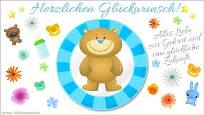Blaue Baby E-Card mit Bär
