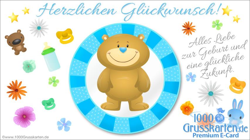 E-Card - Blaue Baby E-Card mit Bär