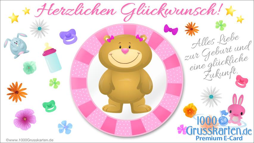 E-Card - Rosa Baby E-Card mit Bär