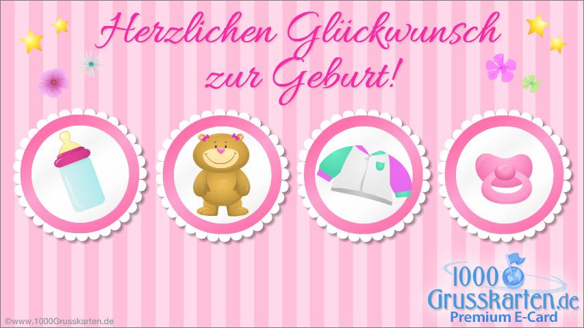 E-Card - Herzlichen Glückwunsch zur Geburt rosa