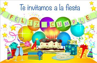 Invitación con torta de cumpleaños
