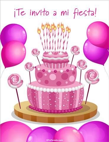 Invitación especial con torta rosa