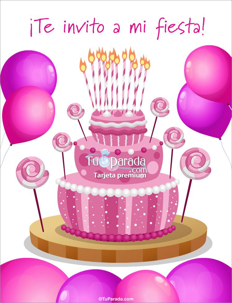 Tarjeta - Invitación especial con torta rosa