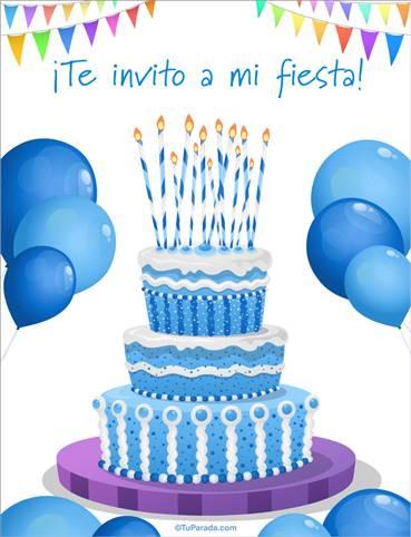 Invitación especial con torta celeste