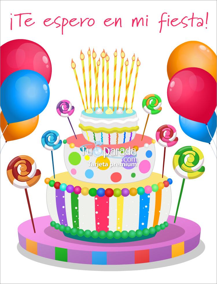 Tarjeta - Invitación con torta de colores