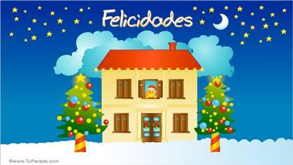 Felicidades con casa navideña y sonrisas