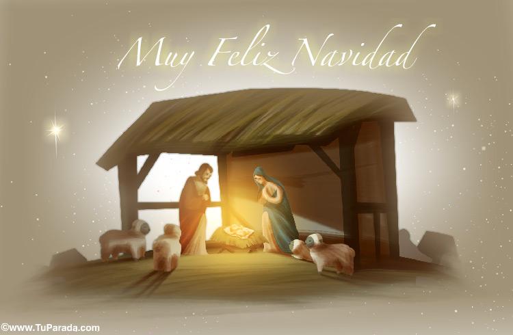 Tarjeta - Pesebre: María, José y el niño Jesús