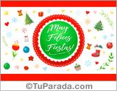 Tarjeta de muy felices fiestas con adornos navideños.