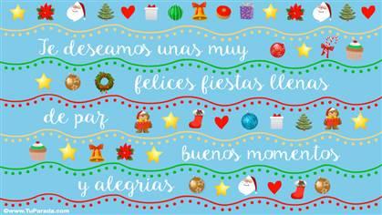 Tarjeta de Navidad con deseos de paz y buenos momentos.