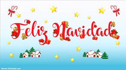Feliz Navidad con regalos y adornos