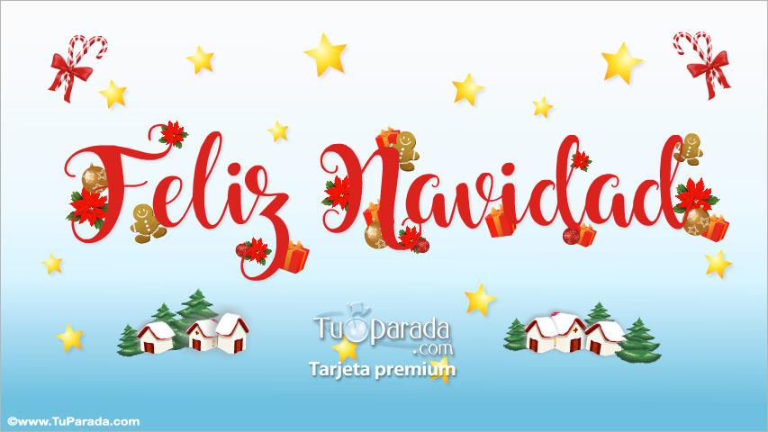 Tarjeta - Feliz Navidad con regalos y adornos