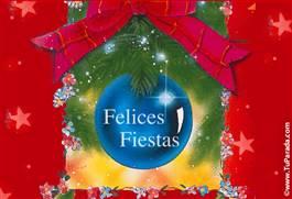 Felices Fiestas con adorno azul