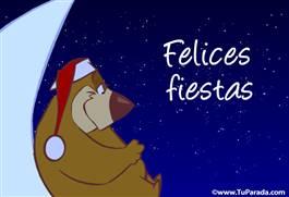 Felices Fiestas con oso y luna