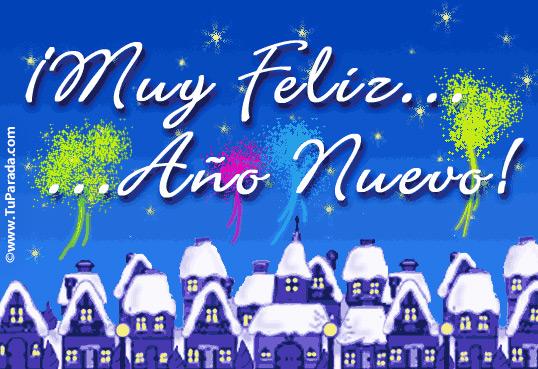 Tarjeta - Muy feliz año con pueblo navideño